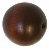 Wooden Bead Round 25mm Dark Brown Polished